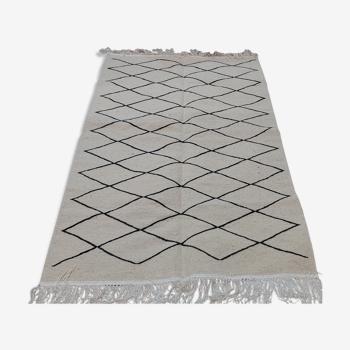 Tapis blanc et noir berbère fait main  192x118cm