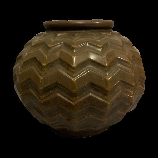 Vase boule en fonte émaillée