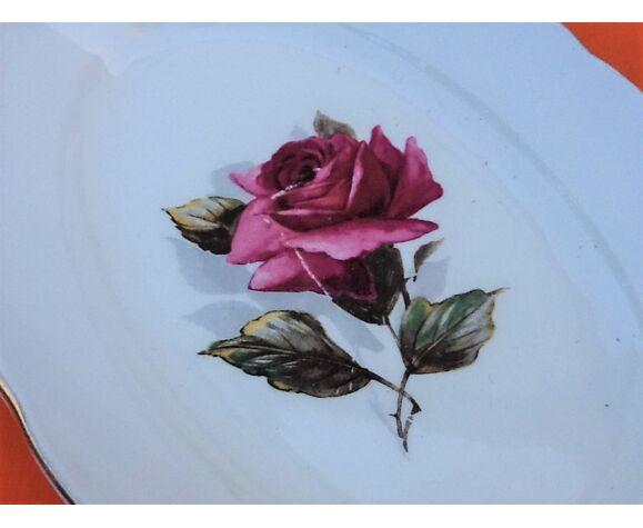 Ravier de service  à décor de rose réhaussé d' un liseré or Faïence de Gien France  Modèle Chambord