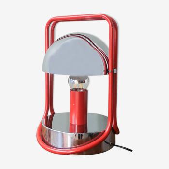 Lampe de table espagnole Red & Chrome, années 1970