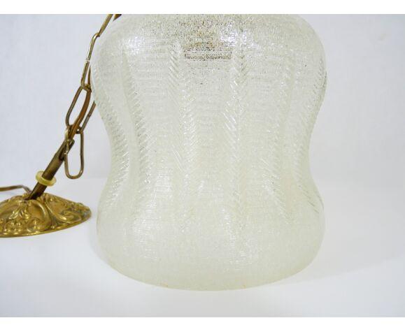 Suspension en laiton et globe en verre années 50/60