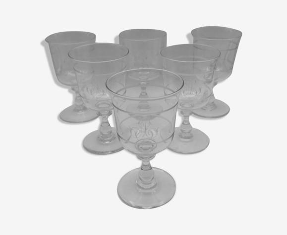 Ensemble de 6 verres à pieds en cristal monnogrammés