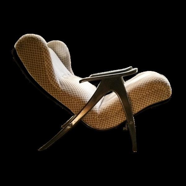 Fauteuil Wing chair à système de relaxation année 50/60