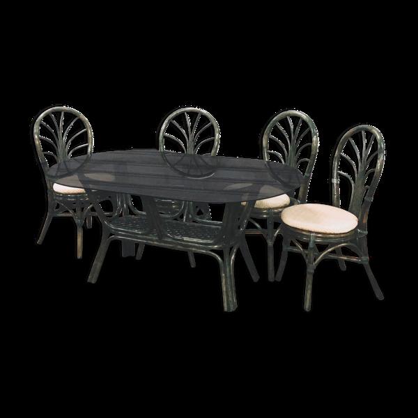 Table de salle à manger en rotin et ses 4 chaises
