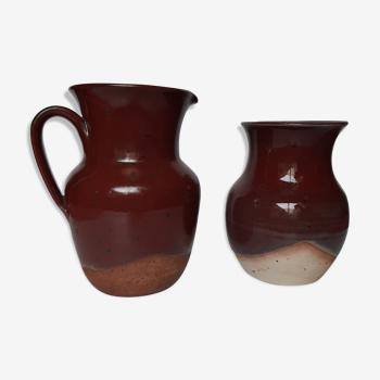 Duo vase et pichet grès vintage
