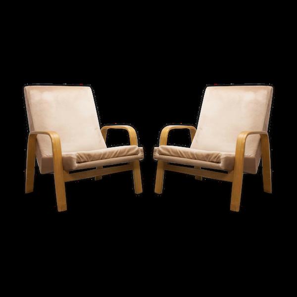 Paire de fauteuils bow wood Steiner ARP 1960