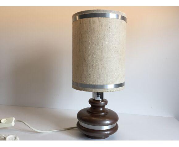 Lampe céramique cerclée aluminium années 70