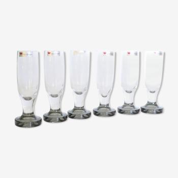 Lot de 6 flutes à champagne en verre épais, vintage