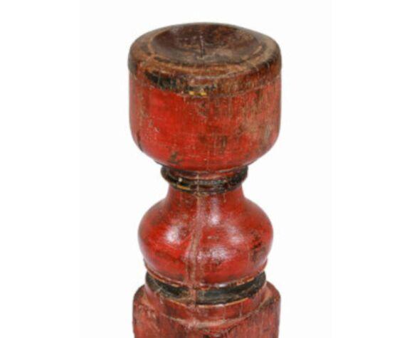 Bougeoir haut bois vieux teck patine d'origine ancien pied de charpoy lit indien
