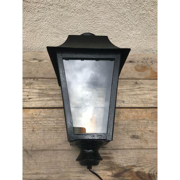 Old Lantern Metal Black Floor Lamp 70s Vintage Glass Plates Selency