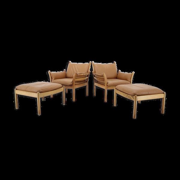 Selency Paire de fauteuils et d'ottomans modèle Genius
