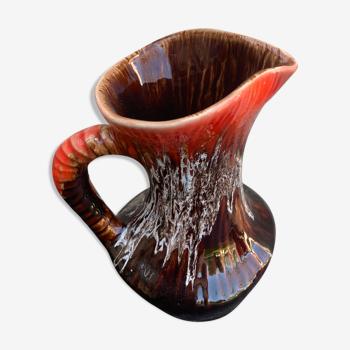 Carafe en céramique émaillée lavée rouge Vallauris vintage 1960