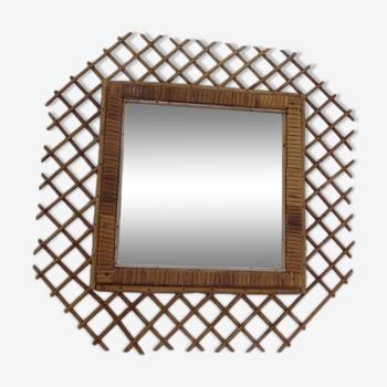 Miroir en rotin hexagonal années 60