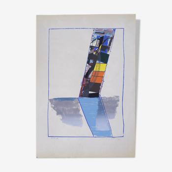 Lithographie moderne abstraite en couleur par Hardy Strid, années 1950