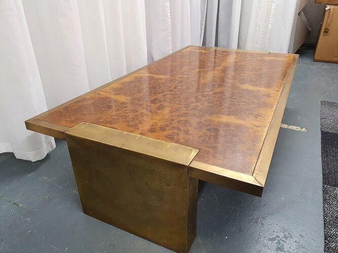 Table basse en laiton et érable