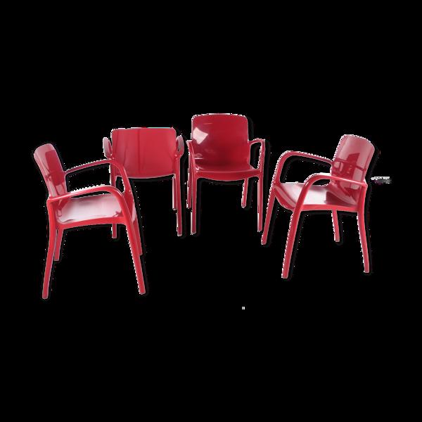 Ensemble de chaises empilées par Marcello Zilliani réalisé par Casprini
