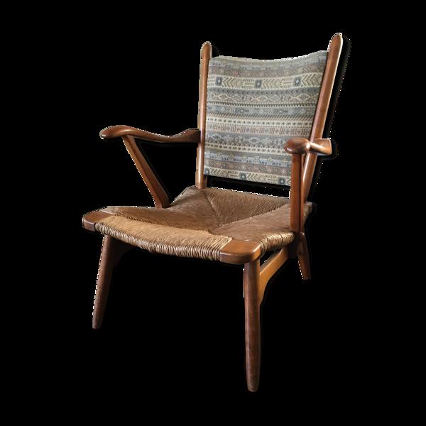 Chaise longue en noyer avec siège à cordon et dossier en tissu