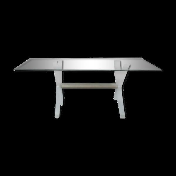 Table basse verre et plexiglas années 70