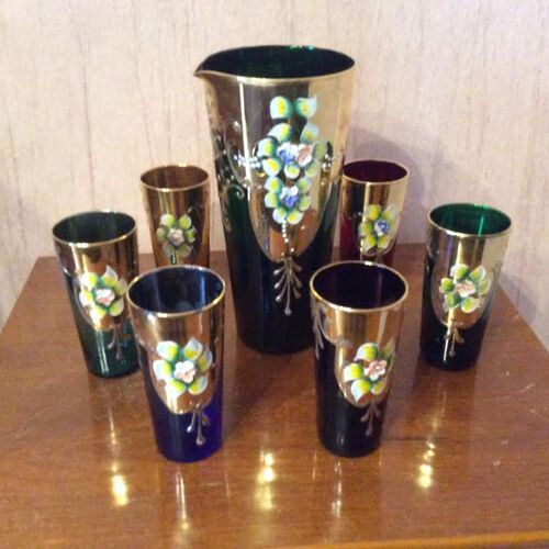 Service à orangeade en cristal de Murano