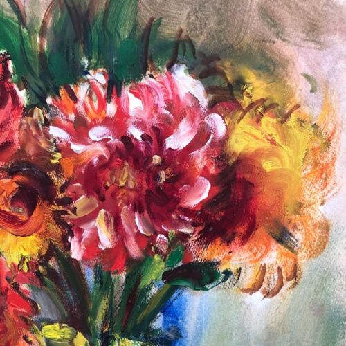 """Tableau """"le bouquet de dahlias"""""""