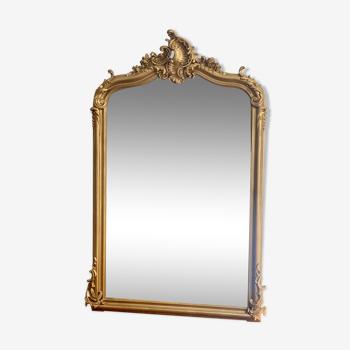 Miroir louis Philippe ancien doré cheminée fronton 84x139cm