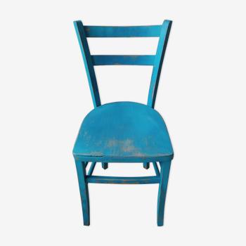 Ancienne chaise bistrot patinée en bleu
