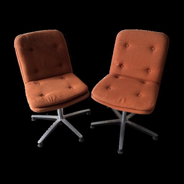 Paire de fauteuils pivotants 1970