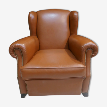 Club armchair with ears of the 40s/ 50s in restored leather