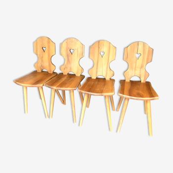 Lot de 4 chaises brutalistes style chalet de montage