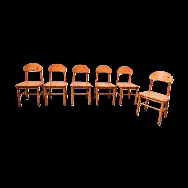 Selency Set de 6 chaises de salon en pin par Rainer Daumiller 1970s