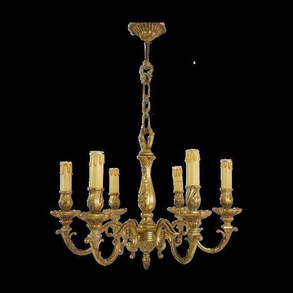 Lustre en bronze à 6 feux en bronze style Louis XV année 50 60