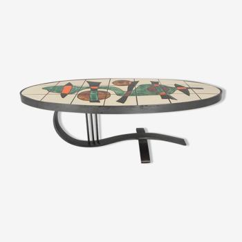 Table basse de table carrelés avec 21 carreaux, Barrois