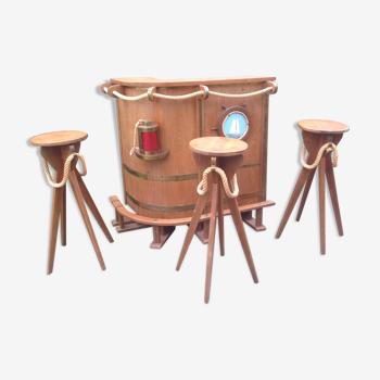 Bar d'angle en chêne marine avec ses 3 tabourets