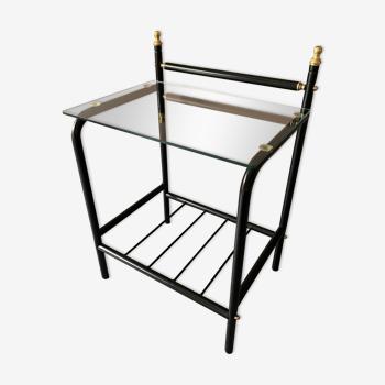 Table d'appoint métal et verre