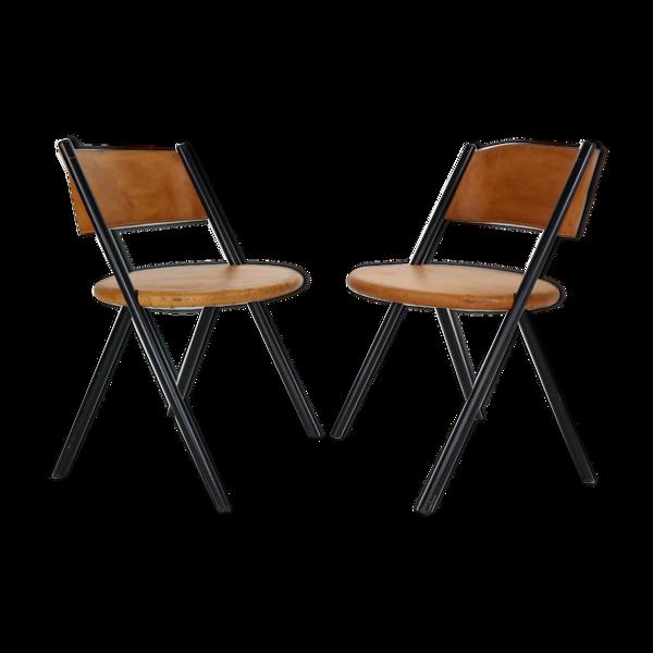 Lot de 2 chaises en cuir cognac, années 1970, Italie