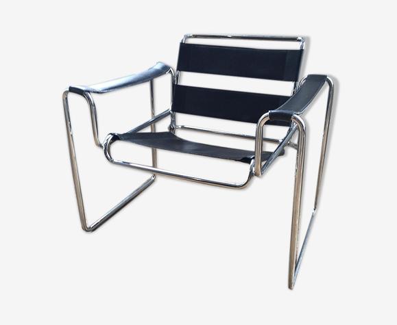 Fauteuil chrome cuir moderniste Bauhaus