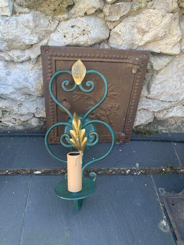 Applique murale en métal vert et feuillage doré vintage