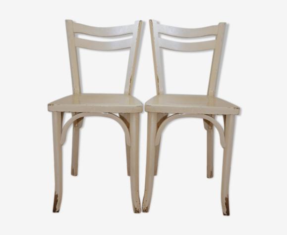 2 chaises baumann n°19 blanches