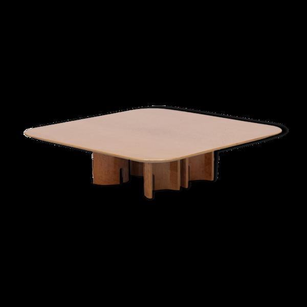 Table basse carrée en broussin par Giovanni Offredi pour Saporiti 1980s