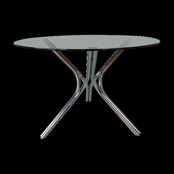 Selency Table ronde en verre et chrome 1970