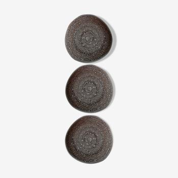 Lot 3 petites assiettes faïencerie de Niderviller modèle Ecume