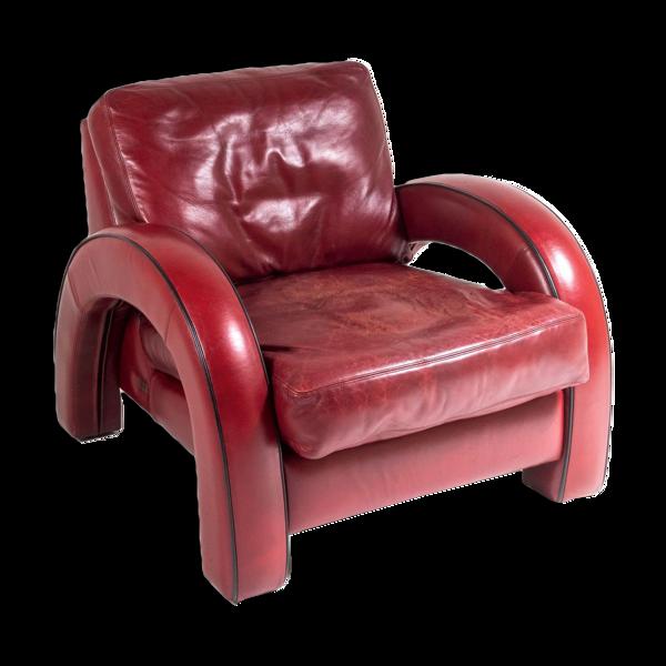 Fauteuil en cuir rouge art déco