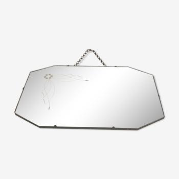 Miroir art déco mercurisé 53 X 35 cm