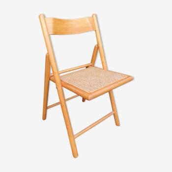 Chaise pliante année 60 bois et cannage