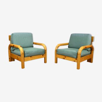 Paire de fauteuils vintage en pin 1980