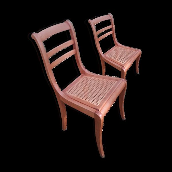 Paire de chaise cannées à barette