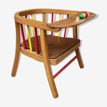 Chaise fauteuil  enfant vintage en bois par Baumann 1950