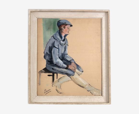 Tableau portrait d'un jeune jockey