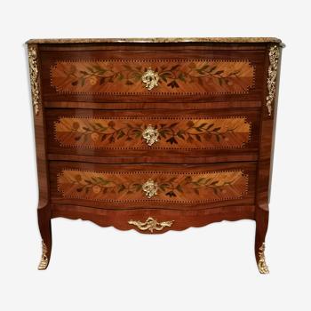 Commode de style Louis XVplacage bois de rose et marqueterie à decor de fleurs