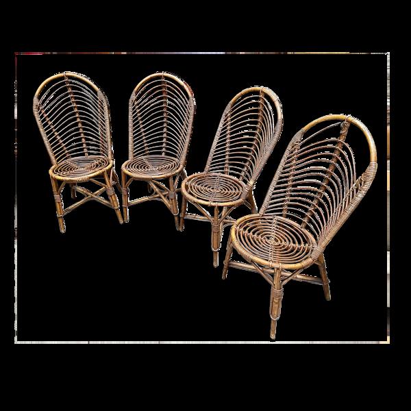 4 chaises en bambou